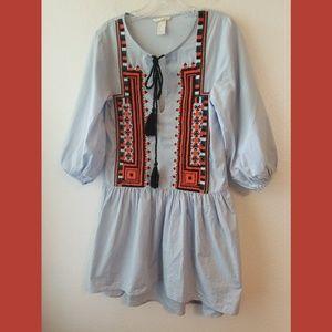 H&M Lt Chambray Embroidered Tassle Tie Dress Sz 2